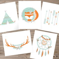 Fox nursery art, Instant download, Set of 5, Tribal nursery art, Woodland nursery art, Teepee wall art, Antler print, Dreamcatcher wall art