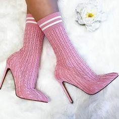 Ribbed Knit Mid Calf Sock Heels