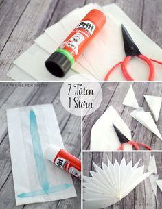 step by step anleitung stern aus butterbrotpapier