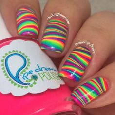 Striped Rainbow Water Marble Nail Art
