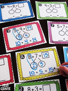 Making a 10 to Add is a great math strategy to help students mentally add bigger numbers. It& a skill I picked up somewhere along the way i. Math Strategies, Math Resources, Math Activities, Ten Frame Activities, Subtraction Strategies, Math Worksheets, Math For Kids, Fun Math, Math Stations