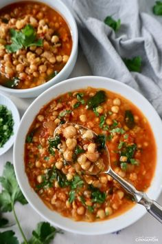Moroccan Chickpea Soup (Vegan, Gluten-free) | Not Enough Cinnamon Moroccan Vegetables, Moroccan Spices, Healthy Soup Recipes, Vegetarian Recipes, Cooking Recipes, Healthy Meals, Garbanzo Bean Recipes, Chickpea Recipes, Eating Healthy