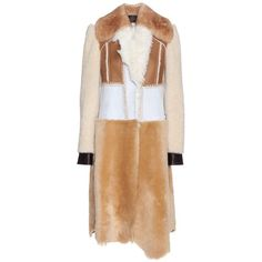 Calvin Klein Collection Patchwork Shearling Coat (€1.985) ❤ liked on Polyvore featuring outerwear, coats, jackets, calvin klein, coats & jackets, neutrals, shearling coat, beige coat, calvin klein collection and sheep fur coat