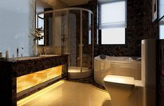 A glowing vanity with backlit stone is the star of this high-end bathroom.