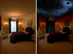 Celestial Ceiling – invisible in the day, glows at night. I want this in every … Celestial Ceiling – invisible in the day, glows at night. I want this in every room of my home! Interior Exterior, Interior Design, Master Bedroom, Bedroom Decor, My New Room, My Dream Home, Home Projects, Diy Home Decor, Living Spaces