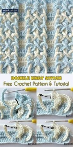 Double Knot Sew: FREE Sample and Tutorial]Observe us for ONLY FREE crocheting patterns for Amigurumi, Toys, Afghans and lots of extra! Double Knot Stitch: FREE Crochet Pattern and Tutorial. Can be used to create a variety of items including throws, bags e Crochet Stitches Patterns, Crochet Motif, Knitting Stitches, Stitch Patterns, Knitting Patterns, Crocheting Patterns, Afghan Patterns, Baby Patterns, Crotchet Patterns