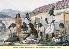 Indians playing a game at a California Mission - by Louis Choris