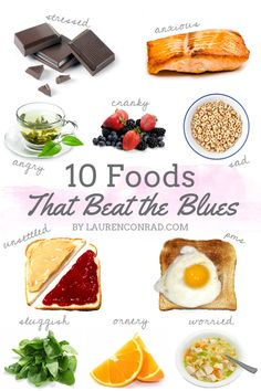Feeling a bit blue? Check out these ten foods that will help cheer you up! #beatblues #yum