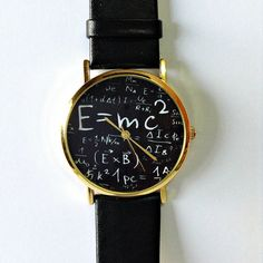Einstein Watch , E=MC2 Equation Watch, Vintage Style Leather Watch, Women Watches, Mens Watch, Unisex Watch, Boyfriend Watch, White, Black, on Etsy, $10.00