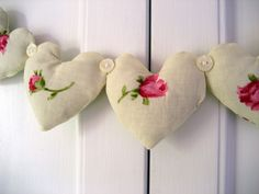cute rose heart and button garland: by RubyRed06 on Flickr