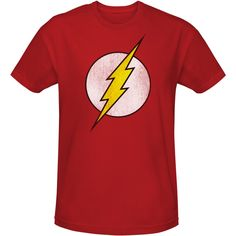 Flash Distressed Logo T-Shirt | Big Bang Theory T-Shirts | CBS Store ($25) ❤ liked on Polyvore featuring tops, t-shirts, shirts, tee-shirt, red tee, shirt tops, red shirt and red t shirt