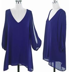 Blue V-Neck Shift Dress - Small, $36.00