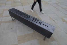 Heavy Metal Bench by Michael Marriott and Anthony Burrill. Text provided by Anthony Burrill. Made of laser-cut galvanized steel.