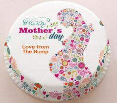 Personalised Cakes For All Occasions - Baker Days Personalised Floral 'Mum to Be' from the Bump Mother's Day Cake from £14.99