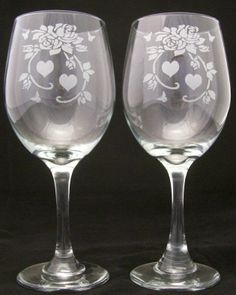 Valentine Rose and Hearts Etched Wine Glasses, roses wine glass, valentine gift. $24.99, via Etsy.