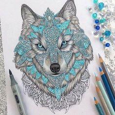 Aztec Wolf blue highlights