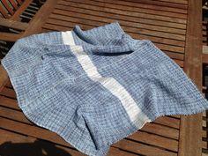 Soft, Chunky Blanket in Denim Blue White Handwoven