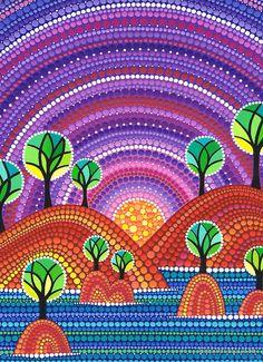 A Shoreline Esplendor de Elspeth McLean Dot Art Painting, Mandala Painting, Stone Painting, Kunst Der Aborigines, Elspeth Mclean, Mandala Dots, Aboriginal Art, Art Plastique, Art Techniques