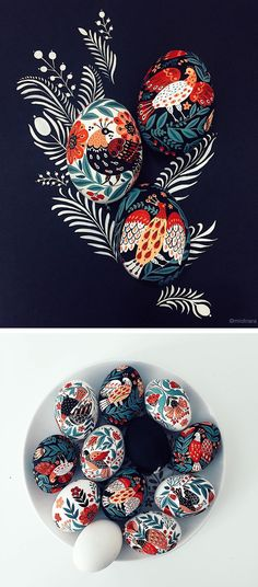 painted eggs by Dinara Mirtalipova | egg painting | Easter eggs | folk illustration