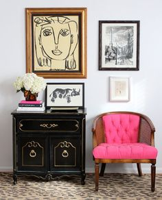 pink Recovered cane back chair
