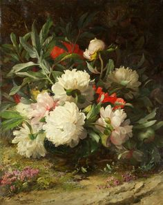 art-and-things-of-beauty:  William Jabez Muckley (1829-1905) - Peonies, oil on canvas, 62 x 52cm. 1885.