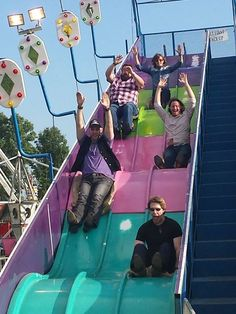 Home Free Vocal Band going down a fair slide! It makes me happy! Home Free Music, Home Free Band, Home Free Vocal Band, Country Bands, Country Music, Crazy Fans, Celtic Thunder, Pentatonix, Bendy And The Ink Machine