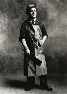 Butcher, cleaver, leather apron, pin stripe shirt, black and white