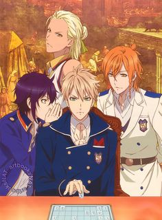 Dance with Devils (ダンス ウィズ デビルス)The guys of Dance with Devils look serious while they play to win in the latest Newtype Magazine (Amazon JP | US) spread, illustrated by animation director Wakako Shigemoto (重本和佳子).