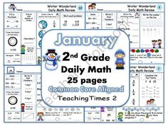 2nd Grade January Daily Math Review Common Core Aligned from Teachingtimes2 on TeachersNotebook.com -  (25 pages)  - This packet includes 25 daily math pages   (5 weeks of daily practice)   Throughout the month- Each daily math page contains:   Place value/comparing numbers/greater than-less than  Adding 10 and 100  Telling time to hour, half hour and five minutes  Shap