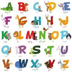 Animal Alphabet Wall Decal Art Baby Nursery Room Decor Peel and Stick Stickers
