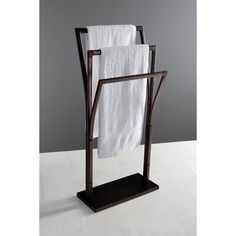 Kingston Brass Edenscape Pedestal Y-Style Free Standing Towel Stand Finish: Oil Rubbed Bronze Hanging Bath Towels, Bath Towel Racks, Bathroom Towel Rails, Towel Holder Bathroom, Towel Storage, Double Towel Rail, Free Standing Towel Rack, Rack Design, Wall Mounted Shelves