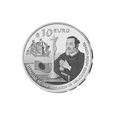 Španielska strieborná minca 10 euro pripomínajúca si  400. rokov  bilaterálnych vzťahov Japonska a Španielska.