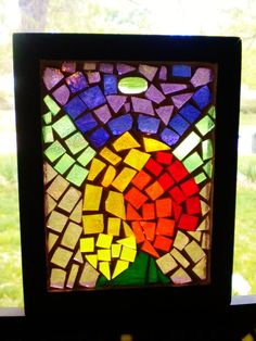 """""""Cock Shot 1"""" recycled stained glass mosaic."""