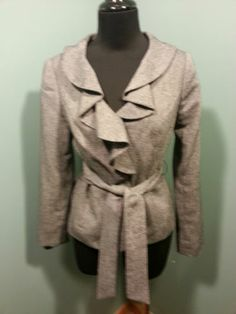 The Limited Collection Wool Blend Black Woven Dress Belted Lined Jacket XS $34 Free Shipping!