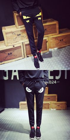 2017 hot summer men's elastic waist trousers all-match small monster funny style casual pants Haren feet sweatpants bag mail