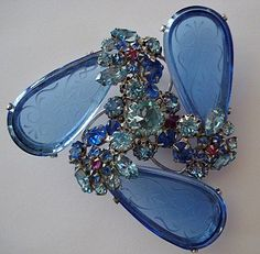 Schreiner Brooch with large blue etched glass stones