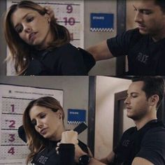 """Lindsay: """"It's not like it's the last time I'm gonna put on a west"""" Halstead: """"No, I'ts just the last time I'm gonna help you get it on right"""" Chicago Justice, Nbc Chicago Pd, Chicago Shows, Chicago Med, Chicago Fire, Marcel Ruiz, Erin Lindsay, Jay Halstead, Red Hair"""