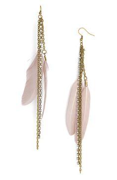 feather/chain earrings