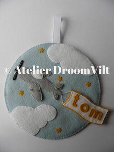 Atelier DroomVilt viltpakket 'Naambordje vliegtuig '
