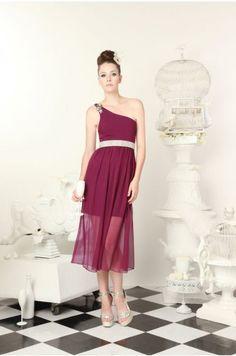 Kalyn One shoulder sheer dress
