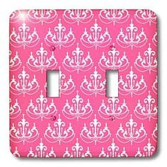 Amazon.com: Dooni Designs Damask Patterns - Elegant Whitwe Chandelier On Medium Pink Trendy Damask Pattern - Light Switch Covers - double toggle switch: Home Improvement