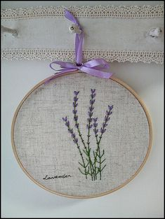 Hand embroidery in hoop Wall Art ( Lavender flower garden )