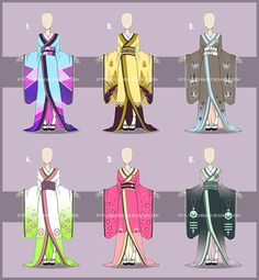 Its time for Kimonos again ---- Price: 500 Points / Owner: Deidarakitty Price: 500 Points / Owner: KillAutumn&. Character Concept, Character Design, Fashion Design Template, Anime Dress, Dress Sketches, Fantasy Costumes, Drawing Clothes, Character Outfits, Anime Outfits