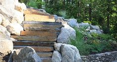 A Gardner + Gerrish design, cascading stone steps. Stone Steps, Stepping Stones, Landscape Design, Wood, Stair Risers, Woodwind Instrument, Landscape Designs, Timber Wood, Wood Planks