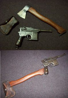 A somewhat interesting idea for the Mauser pistol add on stock. The broomhandle was originally designed with a slot for an additional wooden stock. Revolver, Military Weapons, Military Brat, Gundam Wallpapers, Rifles, Tac Gear, Cool Guns, Airsoft Guns, Guns And Ammo