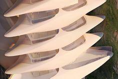 Imagem do primeiro projeto da arquiteta iraquiana Zaha Hadid no Brasil, um edifício residencial de luxo a ser construído em Copacabana, zona sul do Rio de Janeiro.   Varandas com vista para a Praia | imagem: methanoia