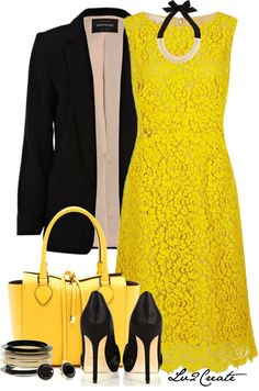 """""""Black & Yellow 1"""" by lv2create on Polyvore"""
