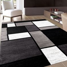 """Contemporary Modern Boxes Grey Area Rug (5'3 x 7'3) (106 Gray 5'3""""X7'3""""), Size 5' x 7' (Plastic, Color Block)"""