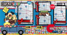 ROAD TRIP 2 premade scrapbook pages paper piecing layout 4 album VACATION CHERRY #Handmade