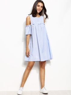 Blue Vertical Striped Open Shoulder Keyhole Back Dress